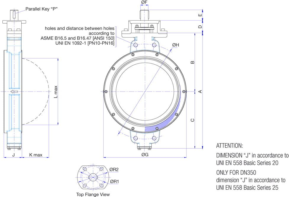 Overall-dimensions-of-S401N-butterfly-valves-ND350-ND700-WAFER-type