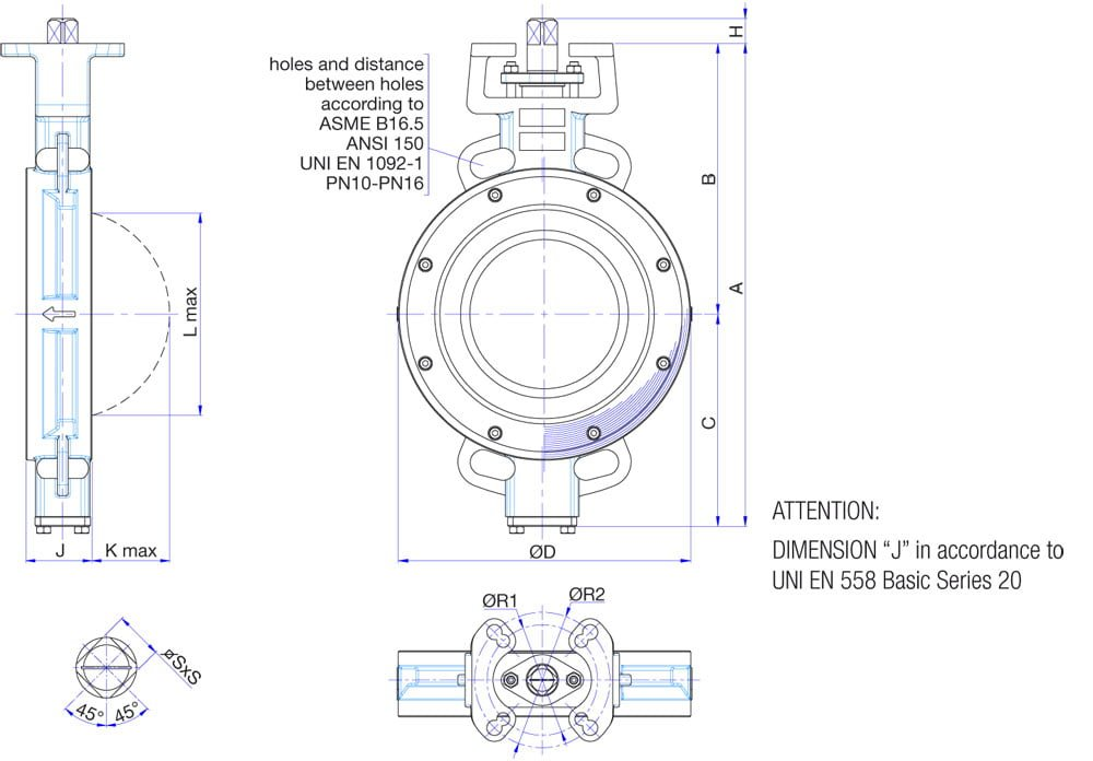 Overall-dimensions-of-S401N-butterfly-valves-ND80-ND300-WAFER-type